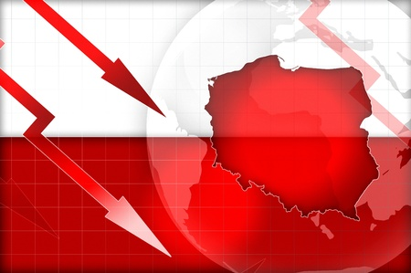 financial condition: poland flag and map crisis concept background