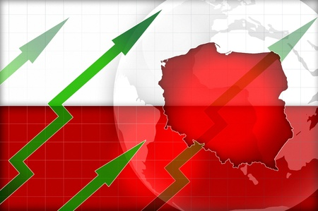 exponential: poland economic growth concept background