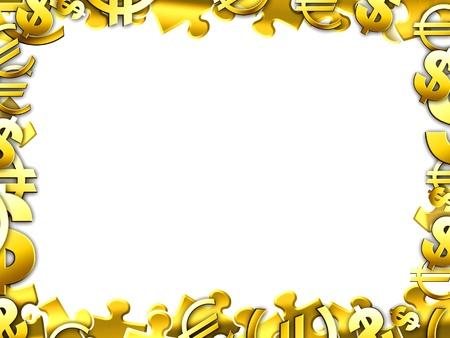 money gold concept illustartion border frame isolated on white Stock Photo - 15140370