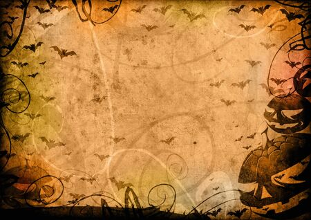 pumpkin border: Pumpkins and bats halloween vintage background card