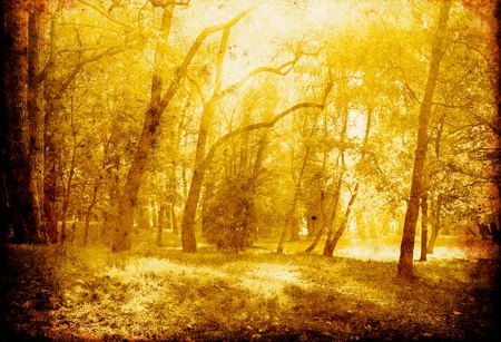 retro golden background with autumn trees photo
