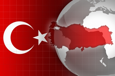 Turkey flag and map news background