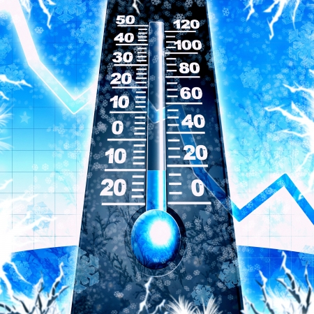 winter weather: cold winter thermometer blue illustration