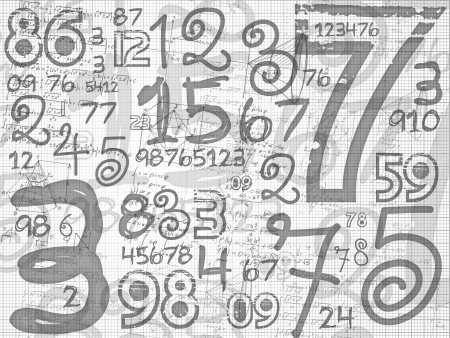 hand drawn numbers paper grid background on white paper sheet