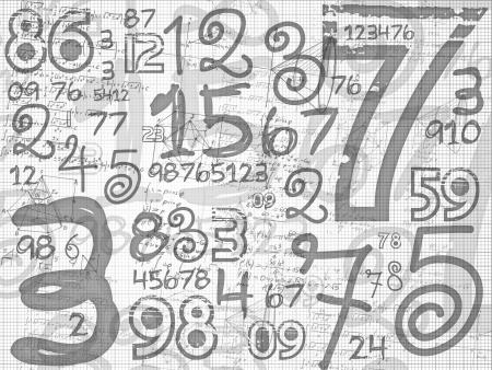 hand drawn numbers paper grid background on white paper sheet Zdjęcie Seryjne - 17709520