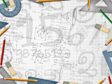 math paper: mathematic school design background illustration Stock Photo