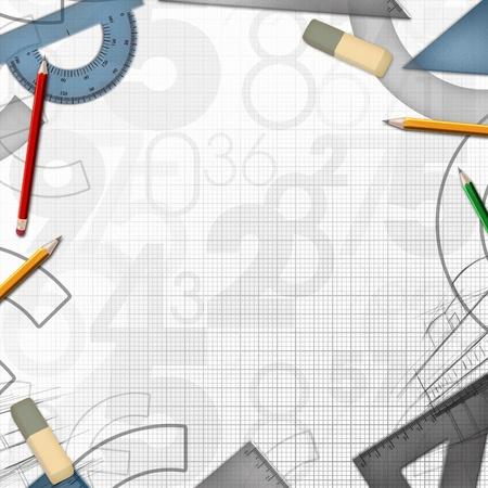 school math drawing tools background illustration illustration