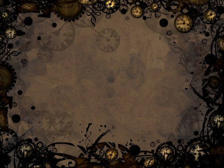 abstract vintage clocks steampunk dark retro background Reklamní fotografie