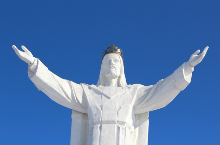 Jesus Christ Monument and Beautiful Blue Sky, Swiebodzin, Poland photo