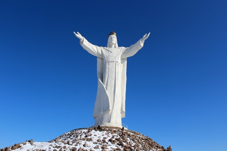 christ the king: The highest on the world Christ the King Monument, Swiebodzin, Poland Stock Photo