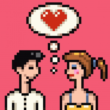 retro 8 bit heart pixel lovers illustration Reklamní fotografie