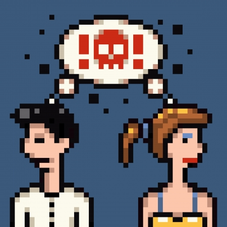 retro pixel marriage argue illustration