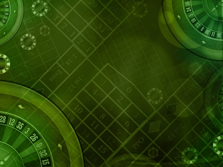 roulette table: casino roulette green horizontal background illustration