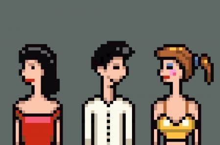 matrimonio infidelidad marital traición retro pixel art ilustración