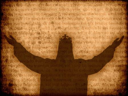 Jésus-Christ silhouette manuscrit illustration de fond