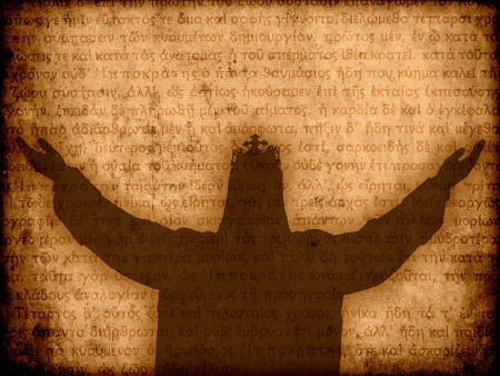 jesus christ silhouette manuscript background illustration