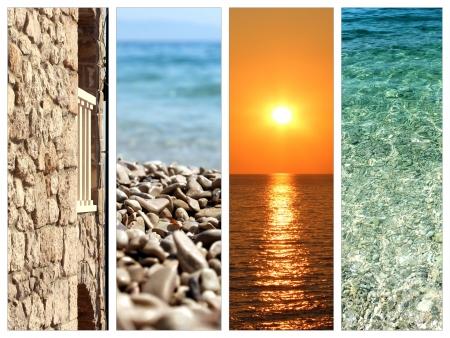 collage of summer holidays images - nature and travel background