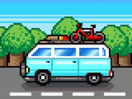 pixelart: family road trip summer vacation holidays pixel-art retro clipart Stock Photo