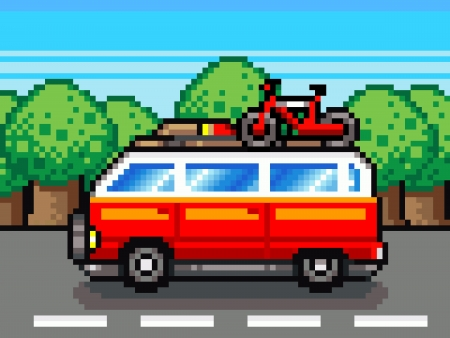 car going for summer holiday trip clipart - retro pixel illustration