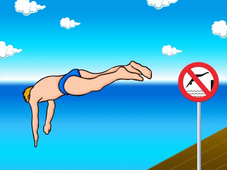 no person: water jumper and no jumping into the water sign - cartoon illustration Stock Photo