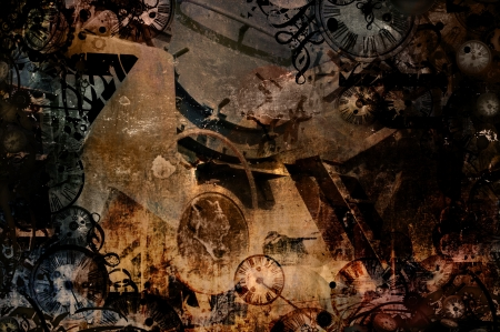 time machine vintage steampunk background illustration Stock Photo