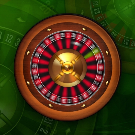 Roulette Wheel Spinning in Casino illustration