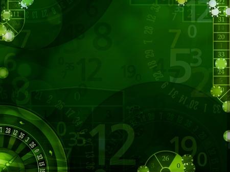 fichas casino: Elegante fondo verde con elementos casino ilustración