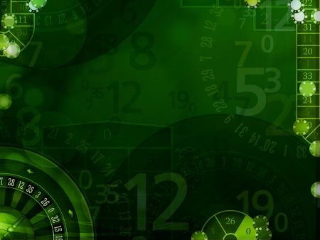 Green elegant background with casino elements illustration Фото со стока