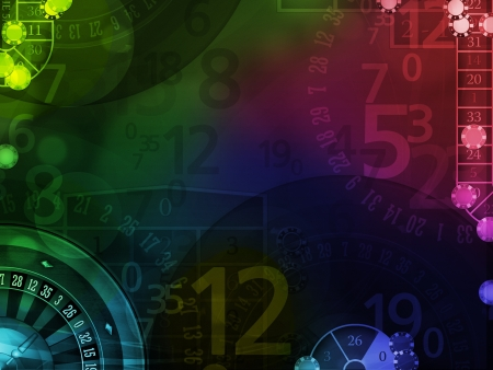 american roulette: colorful elegant background with casino elements illustration