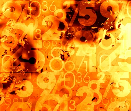 orange abstract hot numbers background illustration