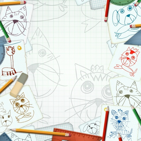 child desk with sketch and drawings background illustration illustration