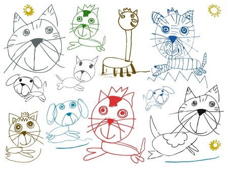 children pets drawings isolated on white background photo