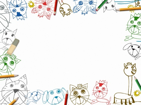 kinder: child sketchbook background with color pencils frame illustration isolated on white