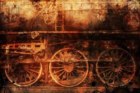 오래 된 녹슨 기차 산업 스팀 펑크 배경 스톡 콘텐츠