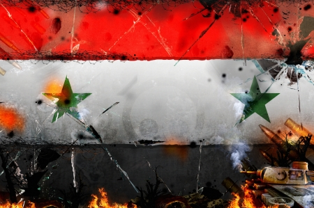 world wars: syria - war conflict illustration - news background