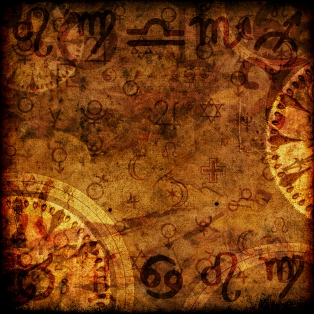 magic zodiac vinatge sepia background