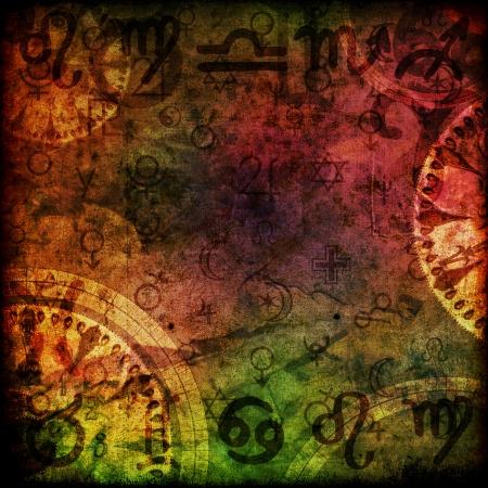 마법의 점성술 배경 그림에 서명 스톡 콘텐츠