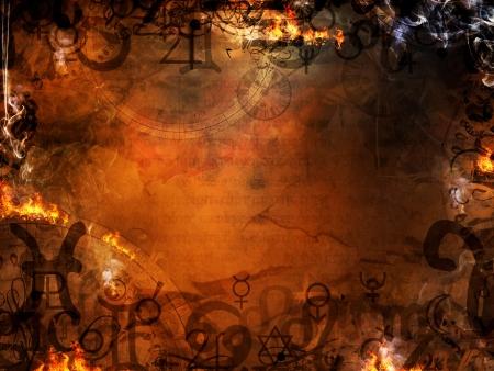 mysterieuze astrologische spreuken esoterische achtergrond Stockfoto