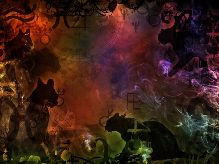 esoteric colorful magic background with black cats shape photo