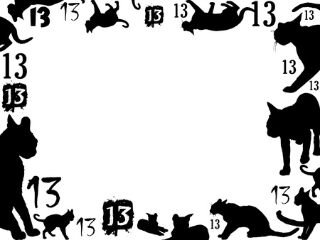 fortune cat: thirteen black cats frame isolated on white background