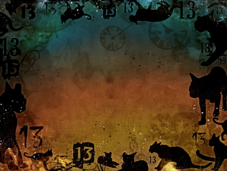 magic background with black cats shapes illustration