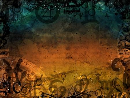 天国と地獄の魔法の暗い背景イラスト