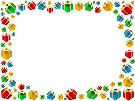 xmas colorful gifts framework isolated on white background  photo
