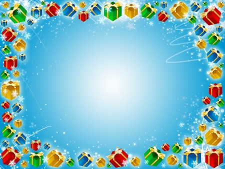 xmas gifts blue background with snowflakes and stars photo