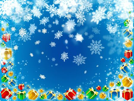 gifts and snowflakes beautiful blue background illustration illustration