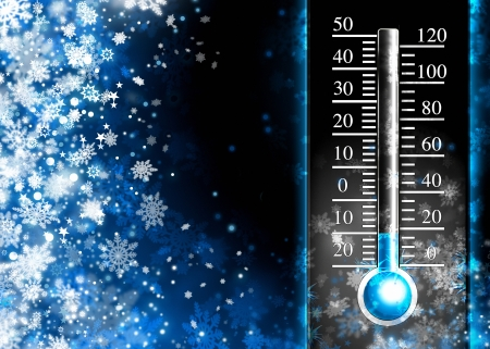 Below zero  Cold thermometer, minus temperature in cold snow winter