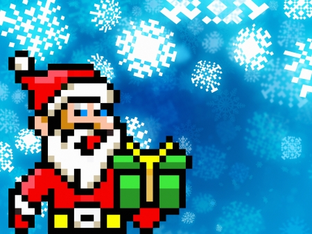 santa claus retro pixel game 8-bit style illustration illustration