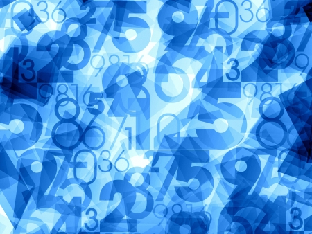 Abstract blue numbers light background