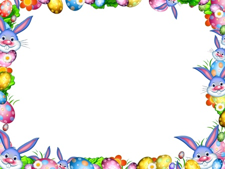 easter bunnies with colorful eggs and flowers border frame isolated on white