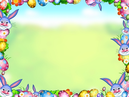 easter bunnies with eggs and flowers frame  background